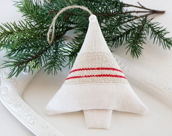 Lavender Sachet Christmas Tree, Vintage Linen Ornament, French Country Rustic Decor