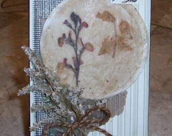 Tea Bag Art,  nature art, dried flowers, home decor, rustic art, farmhouse decor, encaustic art, floral decor