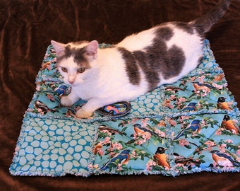Cat Bed, Cat Blanket, Bird Cat Blanket, Teal Cat Blanket, Furniture Pet Cover, Sofa Cover, Handmade Cat Bed, Cat Quilt, Luxury Cat Blanket