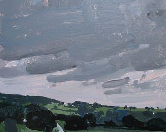 Pre Rain, Tommy's Hill, Original Summer Landscape Painting on Panel, Framed, Stooshinoff