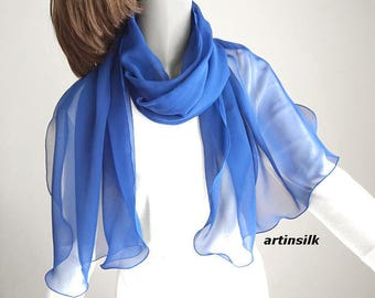 Sapphire Cobalt Medium Blue Silk Wrap, also in Black White or Red Silk Chiffon Shawl Pure Natural Silk, Black or White Wrap, Artinsilk