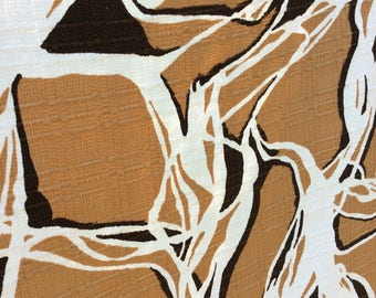 Vintage Cotton Fabric/Drapery Textile/Tan,dark brown and White/Funky Retro Material