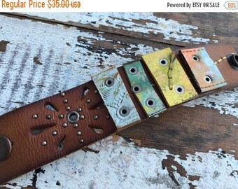 SALE- Custom Leather Cuff-Glimpses Collection-Hand Painted-