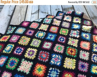 40% OFF- Vintage Crocheted Granny Square Afghan Blanket-Wool Blend