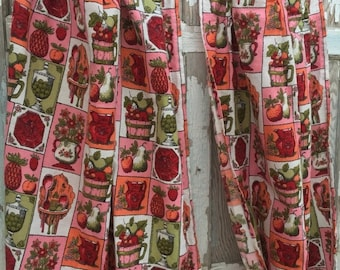 40% OFF- Vintage Kitchen Curtains-Red and Pink-Like New