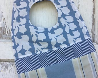 ECLIPSE SALE- Quilted Blue Bib-Wee Ones Bib Collection-Reversible