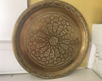 Etched Brass Round Tray / Turkey / Mandala / Large / Date Stamped