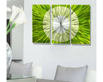 Green Modern Metal Wall Clock - Abstract Functional Art - Metal Clock Sculpture - Hanging Timepiece - Timekeeper - Go Green by Jon Allen
