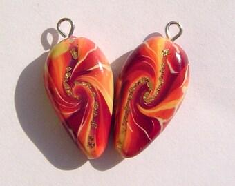 Sunset Dagger Style Charm Handmade Artisan Polymer Clay Beads Pair