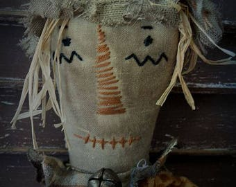MUSTARD SEED ORIGINALS,  Scarecrow, Fall, Halloween, Miniature, Cloth, Doll by Sharon Stevens