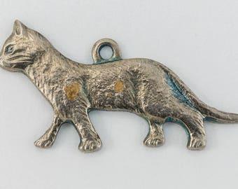 21mm Antique Silver Walking Cat Charm #CHA119