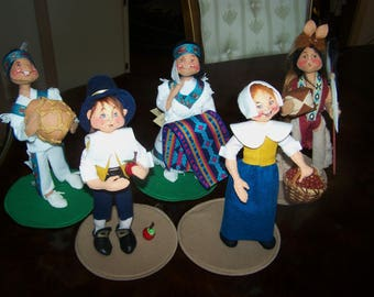 """Lot of 5 Vintage 10"""" Annalee Native American and Pilgrim Dolls - Rare - 1998 White Eagle and Desert Bloom Indian dolls and a 1997 Mint Cond."""