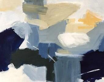 ORIGINAL  blue abstract painting on paper 12x16 modern art indigo blue art