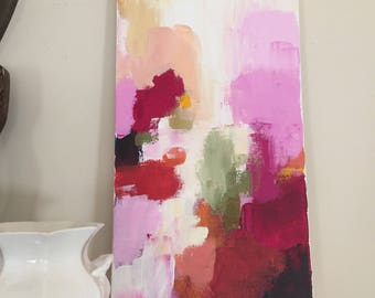 abstract painting bohemian art contemporary design 10x20 pink and orange pamela munger
