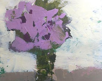 floral painting acrylic painting on paper abstract flower painting art home decor original art purple flowers