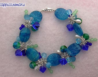 Busy Blues and Greens - beaded bracelet