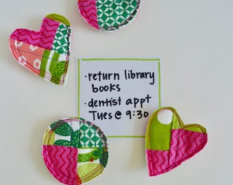 Magnets - Fabric Magnets - Colorful Magnets - Teacher Gift - Patchwork Magnets - Gift for Mom - Set of Magnets - Fridge Magnets - Cactus