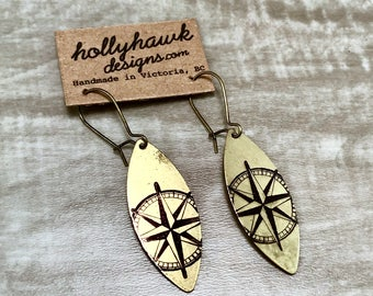 Earrings Raw Brass with Hand Printed Compass Oblong
