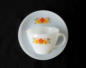 Anchor Hocking Fire King White Dinnerware Cup and Saucer