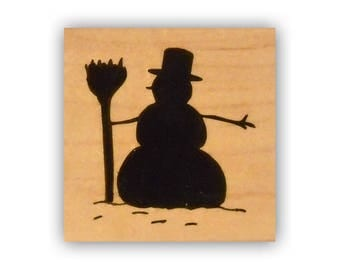 Snowman Silhouette mounted rubber stamp, Christmas, winter, snow man Crazy Mountain Stamps #7