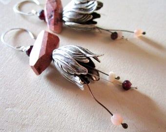 Fire Opal Moonstone Garnet Belle Fleur Earrings - Sterling Silver - Etsy Accessories - Jewelry - Rustic - Flower - catROCKS - Stamen - Pink