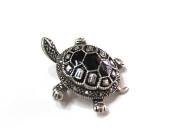 Vintage Sterling Silver Marcasite Brooch Turtle Black Enamel Pin