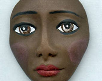 Polymer Clay One of a Kind  Spirit Doll   brown   Detailed Face Cab Un Drilled BRE 1