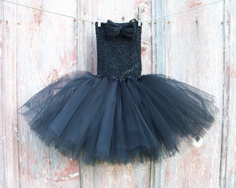Size 2T-6 Solid Black Tutu with Matching Hair Bow
