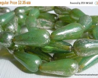 20% Summer SALE New - 4 Czech Teardrop Beads - 20mm Milky Peridot Silver Picasso - Czech Glass Beads - Tear Drop Beads (G - 255)