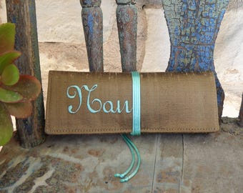 Custom Jewelry Roll Travel Silk Dupioni Custom Medium with Satin Cord Tie