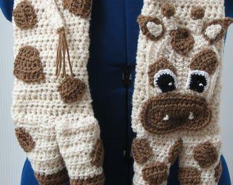 Giraffe Scarf - Crochet Giraffe - Crochet Scarf - Animal Scarf - Men's Scarf - Women's Scarves - Free Shipping