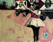 Circus Painting series  Vintage girl  mixed media on canvas Heather Murray