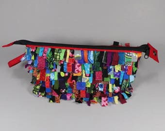 Shaggy Fabric art zip pouch in Red Double Shag!