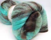 Carded Batt Merino Wool & Silk Mint Chocolate  100g Spinning and Felting Luxury Fibres