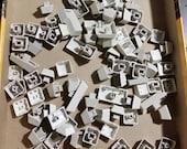 100 White and Gray Computer and Typewriter Keyboard Keys Vintage Tech Geek