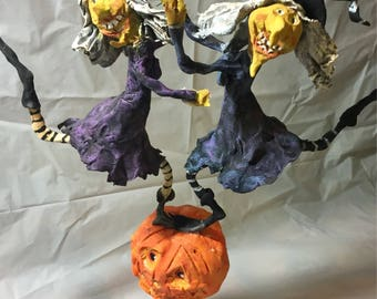 Primitive handsculpted Halloween Dancing Witches on Punkin papermache clay decoration ornament art sculpture finished