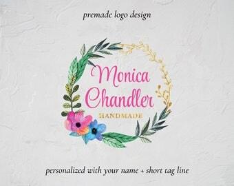Premade Floral Watercolor Wreath Logo, Flower Logo Design, Photography Logo, Watermark, Wedding Planner Logo, Event Planner Logo, Etsy Logo