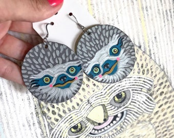 One of a Kind Hand-painted Giant Sloth Earrings