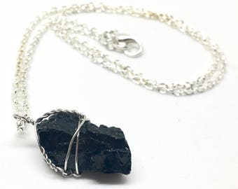 "Black Tourmaline Wire Wrapped Necklace - Petite Protective Stone Jewelry w/ 18"" Silver Chain"