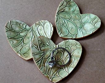 3 Ceramic Heart ring bowls Bridal Shower favors Baby shower ceramic hearts Moss Green edged in gold