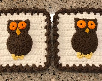 Wise Old Owl Potholder Pair