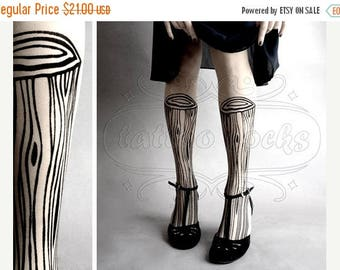 ON SALE/// Wooden Legs TATTOO gorgeous thigh-high stockings White