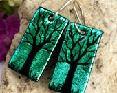 Green Tree Earrings Hand Etched Dichroic Fused Glass with Sterling Silver Hooks