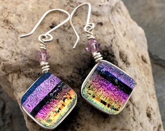 Dichroic Glass Earrings Pretty Multilayered Wire Wrapped with Sterling Silver Hooks