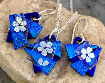 Unique 3D Dichroic Glass Earring and Small Pendant Matching Set Blues and Silver