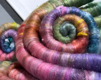"""Pastel Scrap fiber spinning felting rolags """"Pastel Rainbow"""" fiber art rolags, by the ounce, nuno felting, rolags in pastel colors"""
