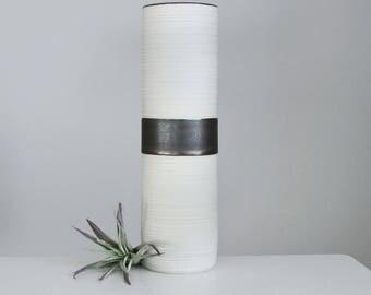 Tall Ceramic Cylinder Vase Metallic Bronze, Rustic Ceramic Vase, Tall Porcelain Groove Cylinder Vase in Bronze