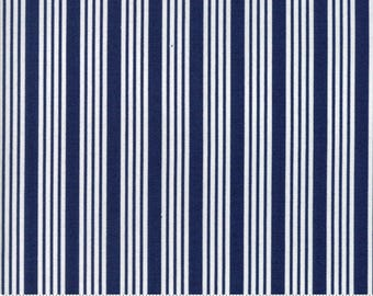 The Good Life - Stripe in Navy Blue: sku 55157-16 cotton quilting fabric by Bonnie and Camille for Moda Fabrics