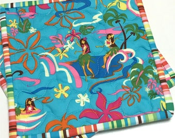 Quilted Pot Holders Hawaiian Hula Girls Hot Pads Set of Two Handmade  Ocean Beach House Tropical
