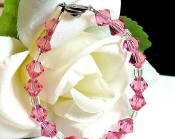 July 4th Sale Hot Pink and White Bead Bracelet Vintage Bead Bracelet Pink Facet Beads Snap Clasp Free Shipping in USA